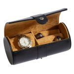 Black Leather Round Jewelry Case  Wedding